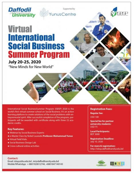 Daffodil International University - Virtual International Social Business Summer Program (ISBSP)-2020