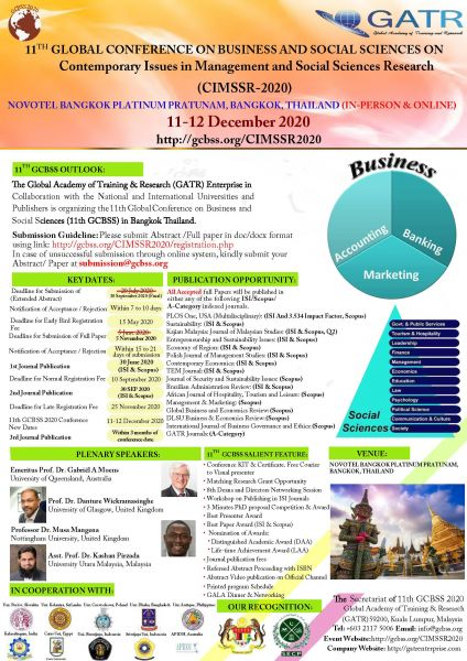 THAILAND-(WOS & SCOPUS)11th Global Conference on Business and  Social Sciences (IN PERSON AND VIRTUAL)